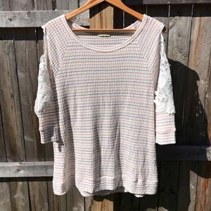 ODDY embroidered cold shoulder waffle knit top